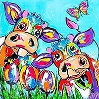 5D フルドリル ダイヤモンドペインティング 動物牛キット 大人用 数字 DIY 宝石 アートクラフト 子供用 ギフトルーム 装飾 12 x 12インチ