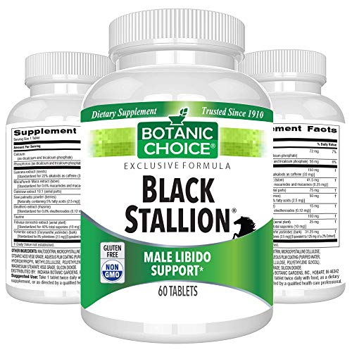 Botanic Choice Black Stallion - Adult Male Daily Supplement - Supports Sexual Health and Libido Promotes Energy Drive Performance and Endurance for Men of All Ages