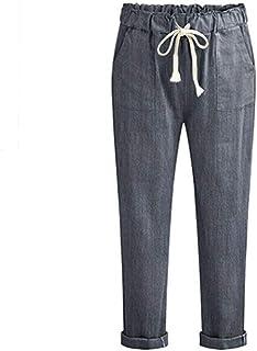 Nuove Donne Pantaloni Harem Pantaloni Lunghi Primavera Autunno Capris Solido Elastico in Vita Pantaloni di Lino in Cotone ...