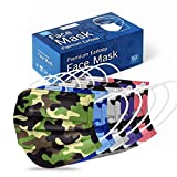 Disposable Face Mask - Camo Face Mask for Men and Women - 5 Colors 3-Ply Non Woven Camouflage Dust Mask (50Pcs)