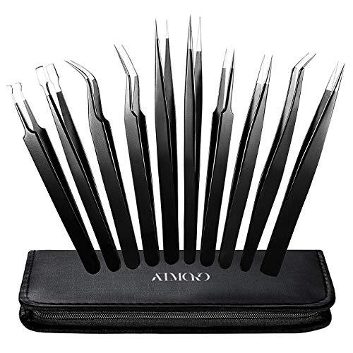 Precision Tweezers Set, ElleSye 10 PCS ESD Tweezer Set, Anti-Static Stainless Steel Tweezers Non-magnetic Tweezer Set