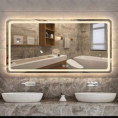 NKTJFUR Espejo de baño LED Anti-niebla de retroiluminación de la luz de retroiluminación de la luz de retroiluminación con luces grande Monte el espejo de maquillaje con interruptor táctil Brillo ajus