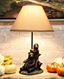 Ebros Whimsical Rustic Black Momma Bear with Cubs Playing Hide and Seek by A Tree Table Lamp Statue with Shade 18.5'High Mountain Wildlife Woodland Cabin Lodge Decor Forest Bears Desktop Lamps