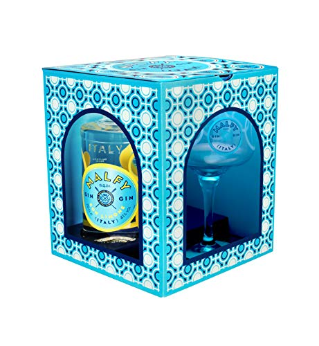 Malfy Gin Con Limone Geschenkverpackung - Premium Gin aus Italien - Malfy Gin con Limone mit Original Malfy Copa Glas - 41%Vol - 0,7L
