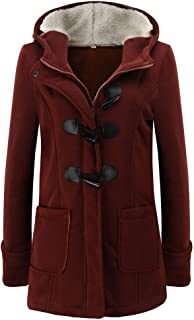 Toimoth Womens Wool Blended Classic Pea Coat Jacket Fur Trim Hooded Parka Jacket