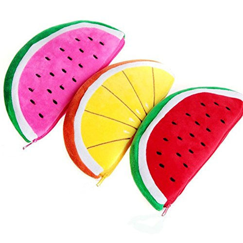 Lumanuby 3X Süße Plüsch Wassermelone und Orange Stifttasche Weich Obst Kosmetiktasche für...