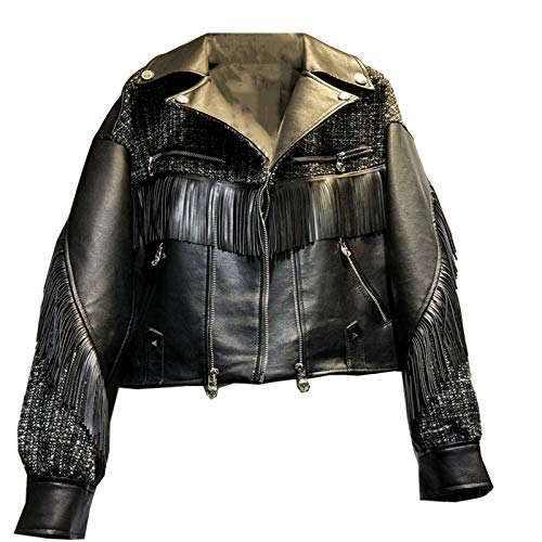 Laoling Chaqueta Corta de Cuero de imitación con borlas de Moda Suelta para Mujer Abrigo de Motociclista de Cuero con Costura de Tweed de otoño Ropa de Calle