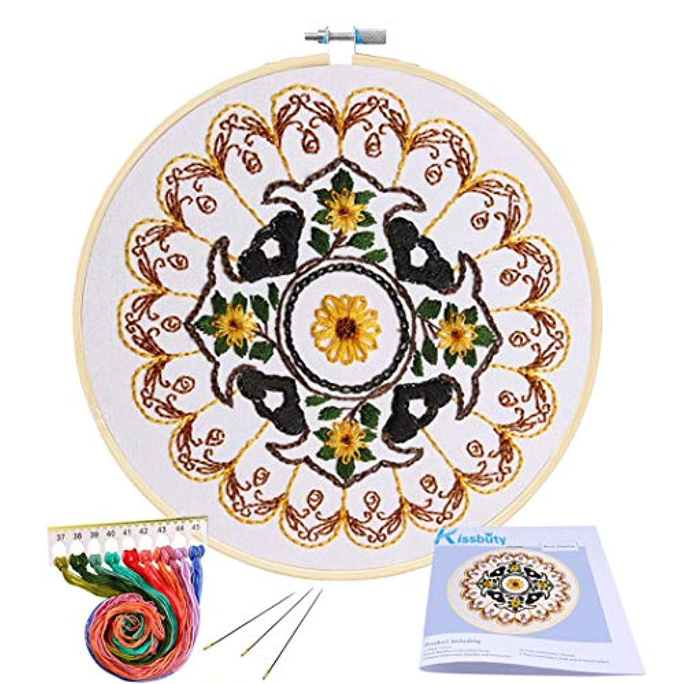 Full Range of Embroidery Starter Kit with Pattern, Kissbuty Cross Stitch Kit Including Embroidery Cloth with Floral Pattern, Bamboo Embroidery Hoop, Color Threads and Tools Kit (Yellow Mandala)