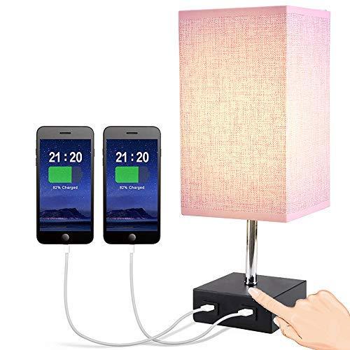 Lámpara de Mesa LED con Control Táctil, LTTENY Lámpara de Mesita de Noche Moderna con 2 Puerto USB, Luz Nocturna LED para Dormitorio, Oficina, Estudio, con Bombilla LED Regulable