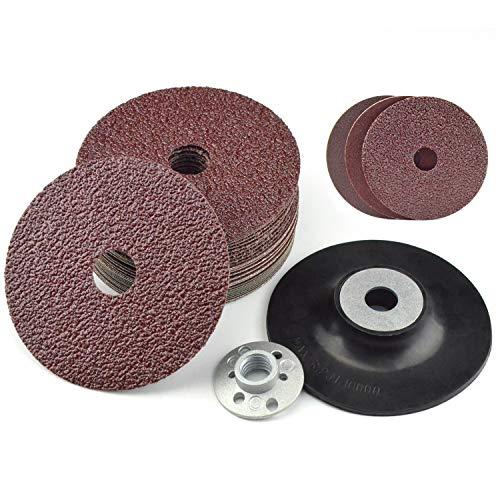 "Resin Fiber Discs Assorted 24/60/120 grit 4.5"" x 7/8"" Center Hole Aluminum Oxide Power Sander Fiber Backed Abrasive Discs with 5/8""-11 Thread Sander Backing Pad for 4-1/2-Inch Angle Grinder, 31PCS"