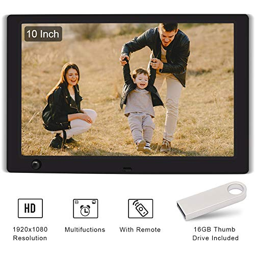 WayGoal 10 Inch Digital Picture Frame + 16GB USB Flash Drive, 1920x1080 Full HD IPS Screen With Motion Sensor, Electronic Photo Frame Display 1080P Video via USB, SD Card, With Remote Control - Black