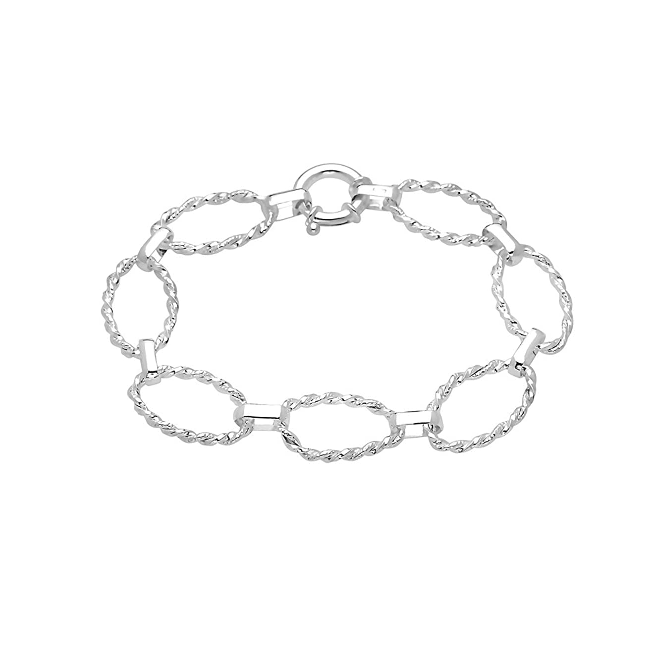 Pori Jewelers Sterling Silver Twisted Oval Chain Bracelet - Made in Italy - 7.5