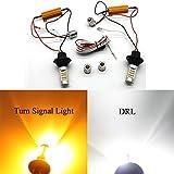 Feu clignotant de voiture Feux diurnes LED DRL w/Résistance de charge 12v Super lumineux Back up lampe de recul 1156 BAY15S Ampoules latérales Canbus Amber