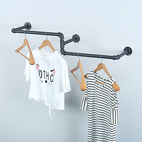 MBQQ Industrial Pipe Clothing Rack Wall Mounted, Vintage Laundry Room Rod,Wall Clothes Rods Decor Hanging Rack,Commercial Clothes Display Racks,Garment Rack/Bar,(3 Base, 39')