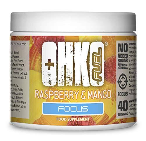 OHKO Fuel Fokus - Energy-Drink in pulverform - Geeignet für Veganer - 40 Portionen - SimplySupplements (Himbeere & Mango)