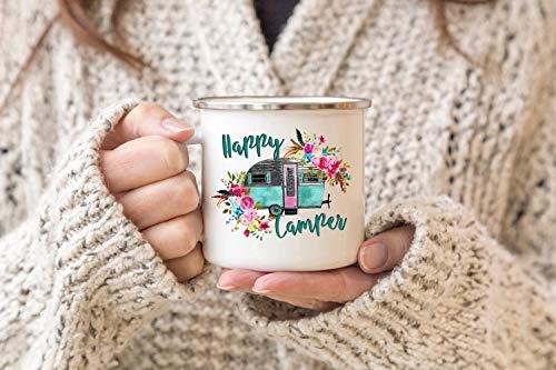 Taza de camping esmaltada para campistas Happy Campers Travel Mug RV Decoración al aire libre para amantes del senderismo regalo taza de campamento