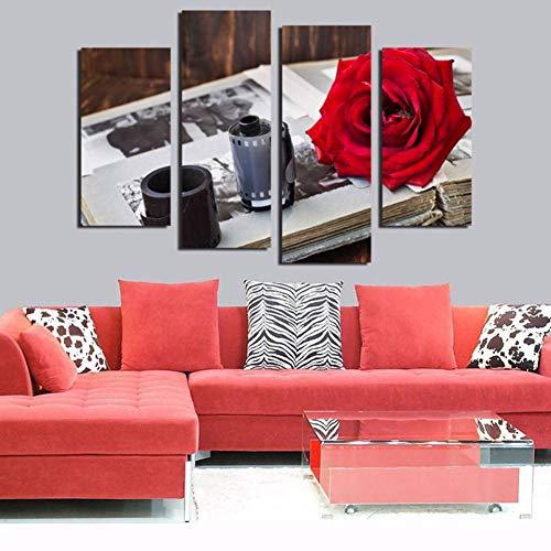AJKCBAQ Decoratieve lijst canvas schilderij poster voor de woonkamer 4 panelen band en rode roos bloem muurkunst Home modern HD gedrukte foto's