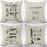 Vintage Remington Guns Linen Throw Pillow Case, 18 x 18 Inch Set of 4, Man Cave Decor, Guns Lover Gifts, Gifts Police, Husband,Boyfriend, Dad, Cushion Cover for Sofa Couch Bed