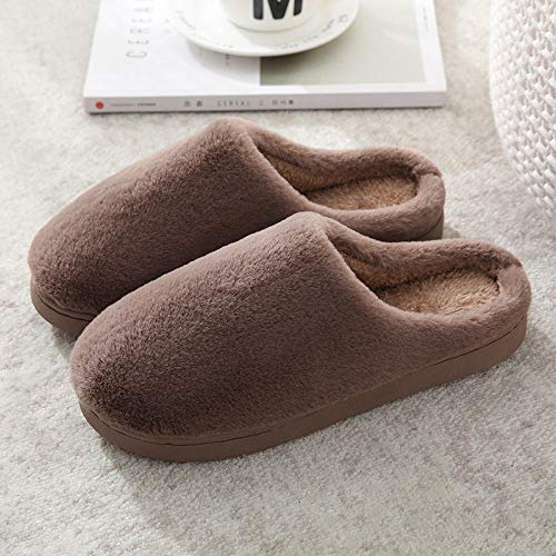 Charm4you Winter Home Plush Slippers Cotton,Indoor warm non-slip cotton slippers-Coffee A_42-43A,Comfy Warm Cotton Slipper Indoor