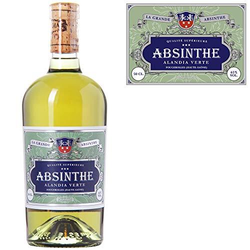 Absinth ALANDIA Verte | Ohne Farbstoff | Original Rezeptur aus dem 19. Jh. | Traditionelle Herstellung | 65% Vol. | (1x 0.5 l)