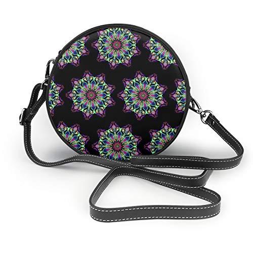 Bolso bandolera con mandala de gas clásico, multifuncional, de piel sintética, para ir de compras, de viaje, redondo