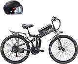 CASTOR Bicicleta electrica 26'Powercassisted Bicycle Dobling, Batería de Litio extraíble 48V 8AH, 350W Motor Straddling Easy Compact, Bicicleta eléctrica de montaña Plegable, Blanco