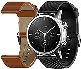 Motorola Moto 360 3ème génération Smartwatch – Boîtier en acier inoxydable avec bandes de 20 mm, batterie toute la journée et WearOs Gris acier