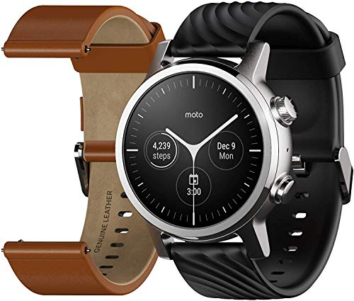WearOs Smartwatch für Motorola Moto 360 3. Generation, Edelstahl-Gehäuse mit 20 mm Band, ganztägige Batterie, Stahlgrau