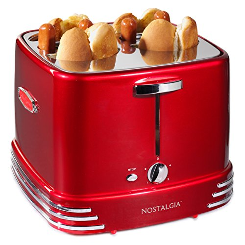 Nostalgia RHDT800RETRORED Pop-Up 4 Hot Dog and Bun Toaster With Mini Tongs, Works With Chicken, Turkey, Veggie Sausages and Brats, Retro Red