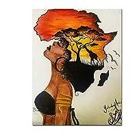 Chenjiaxu 壁にアフリカの女性の絵画抽象的な夕日の風景壁アートキャンバスプリントとポスター写真家の装飾-40X60Cmフレームなし