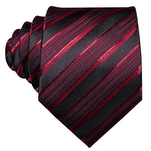 Barry.Wang Neckties Silk Tie Handkerchief Cufflinks Wedding Business Black and Red