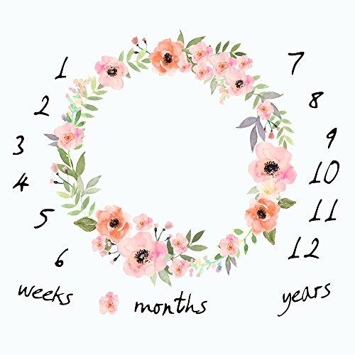 Coperta mensile per bambini, motivo ghirlanda floreale con motivo floreale e grafico della crescita mensile fondale per neonati, 101,6 x 101,6 cm, W-716