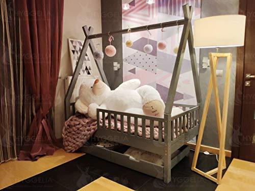 Hyggelia Tipi Bett Holz mit Barrieren und Zwei Schubladen Bett für Kinder Jugendliche Schlafzimmermöbel Landhausbett Hausbett, natürliches Holz, 60 x 120cm