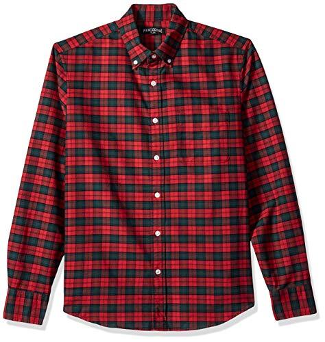 J.Crew Mercantile Men's Slim-Fit Long-Sleeve Plaid Shirt, Heather Poinsettia, L