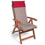 Detex Set de 6X Cojines Vanamo con repaldo Rojo para sillas de jardín Almohadillas Acolchadas para Asiento Impermeable