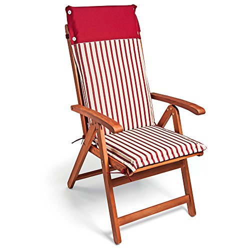 Detex® Stuhlauflage Vanamo 6er Set Wasserabweisend Hochlehner Auflage Sitzauflage Stuhlkissen Polsterauflage Rot Weiß