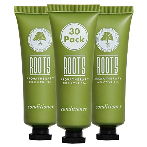 ROOTS AROMATHERAPY Conditioner 1floz/30mL Travel Size Hotel Bulk Pack (Eucalyptus Tea fragrance) Toiletries for Bathroom, Guests, Hotels, Motels, and Lodging (30 pack)