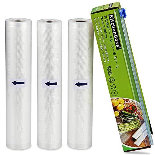 KitchenBoss 真空ロール 28cm*500cm*3本 真空パック袋 カットボックス付き 真空パック機専用袋 真空包装袋 真空パックん 替えロール シーラー袋 鮮度長持ち BPAフリー PA+PE安全素材 食品保存 家庭用 業務用(28*500cm 3本)
