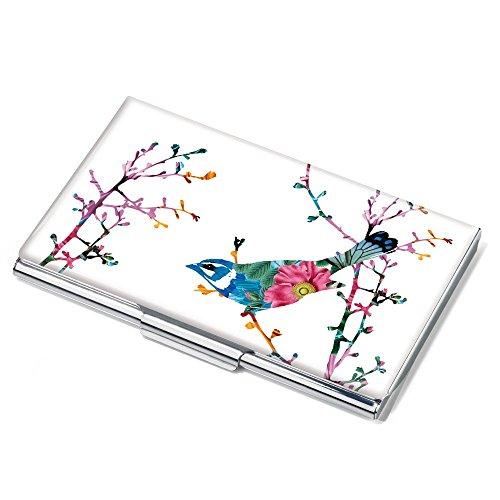 Troika Visitenkartenetui, Motiv: Birdie, flach, für ca.11 Karten, Metall, verchromt, glänzend, Mehrfarbig