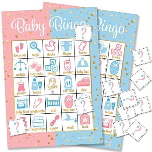 DISTINCTIVS Baby Gender Reveal Party Bingo Game  24 Guests