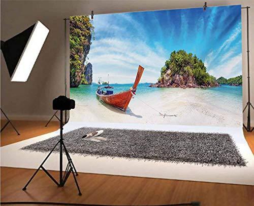 Fotógrafos tropicales de vinilo de 7 x 5 pies, playa surreal en Tailandia con un viejo barco isla de madera, fondo de fotos para decoración del hogar, decoración al aire libre