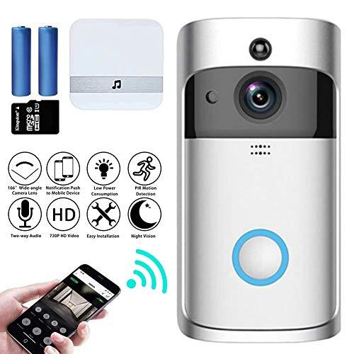 M-TOP video-intercom, deurbel met camera, wifi, video, deurintercom, draadloze 720p HD, doorbell, camera met bewegingsmelder, 2-weg audio, nachtzicht, intercom, videoSilver-A