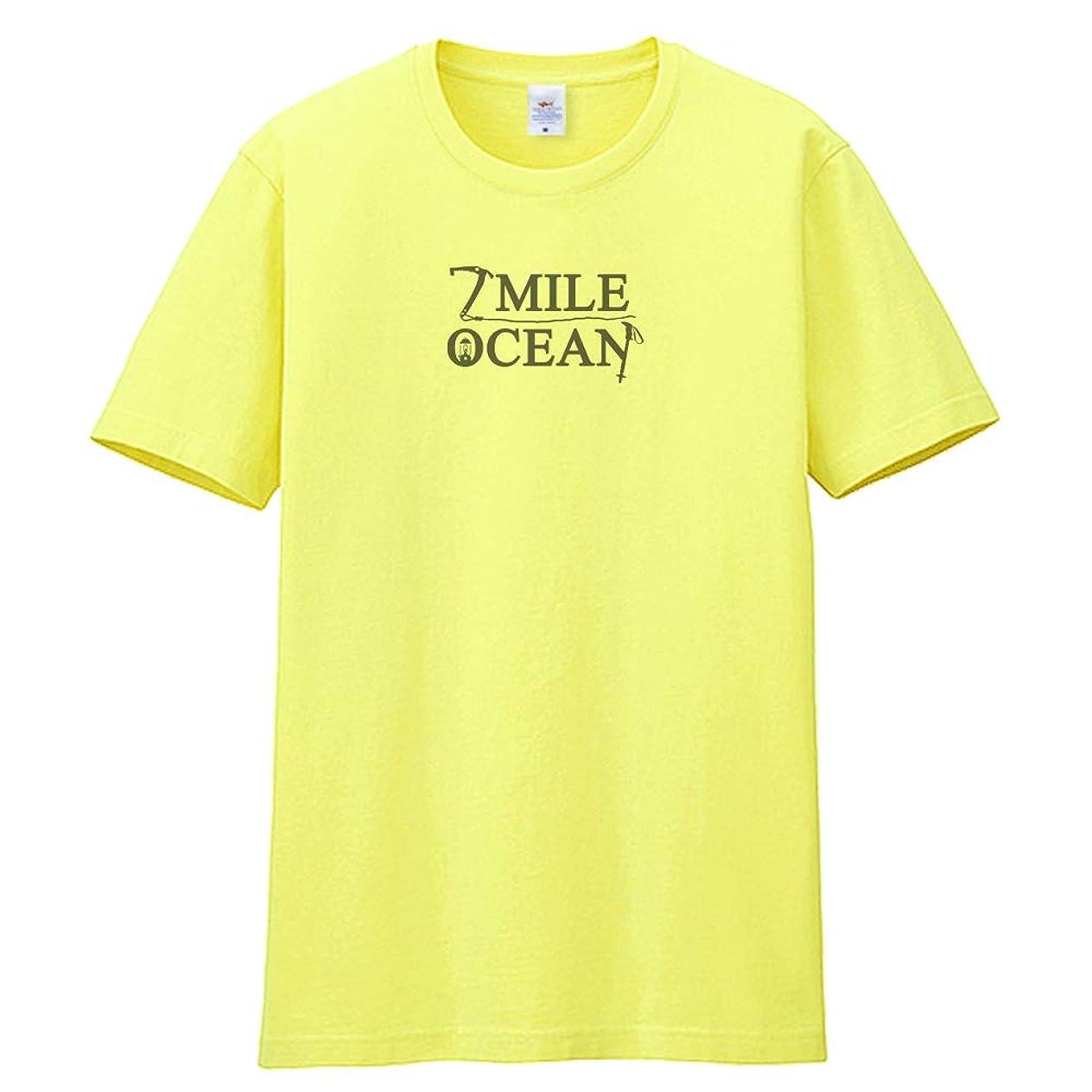 広まったファブリックコンピューター7MILE OCEAN メンズ 半袖 プリント 大雪山 マウンテン 登山 山岳 北海道 国立公園 ピッケル バックプリント 自然