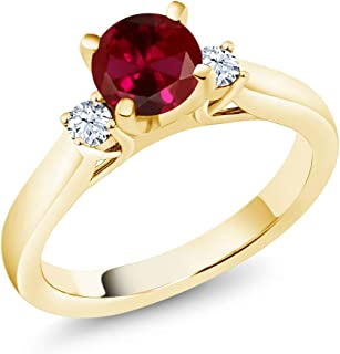 Gem Stone King 1.10 Ct Red Created Ruby White Created Sapphire 18K Yellow Gold Plated Silver Engagement Ring