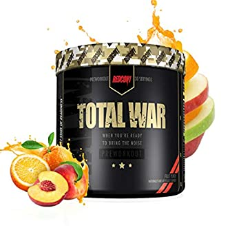 Redcon1 Total War - Pre Workout 30 Servings Boost Energy Increase Endurance and Focus Beta-Alanine- NutritionBizz Exclusive Flavor  Fruit Punch