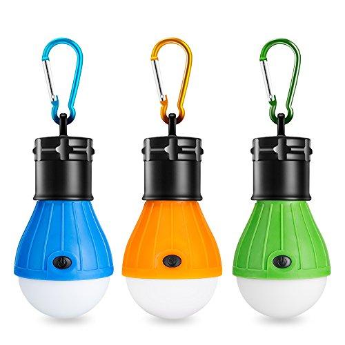 Eletorot Set Carpa Lámpara Camping LED Iluminación de Emergencia COB 150 LM para Camping Pesca de Aventura Garaje Caso de Emergencia Impermeable (3pcs Amarillo azul verde)