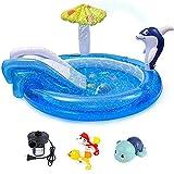 Piscina Inflable, Piscina Inflable De La Diapositiva, Piscina Inflable De Dolphin Jet, Juego De Juegos para Niños Juguetes-75 Pulgadas (con Bomba Eléctrica)