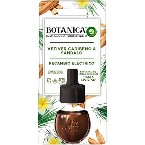 Botanica by Air Wick - Recambios De Ambientador Eléctrico, Esencia Para Casa Con Aroma A Vetiver Caribeño Y Sándalo