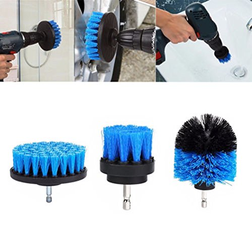 MeterMall Tegel Grout Power Scrubber Reinigingsborstels Cleaner Set Voor Elektrische Boren 3 Stks/set Blauw