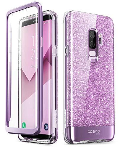 i-Blason Hülle Kompatibel für Samsung Galaxy S9 Plus Glitzer 360 Grad Handyhülle Bumper Case Glänzend Schutzhülle Full Cover [Cosmo] mit integriertem Displayschutz, Lila - 6.2 Zoll